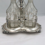 Triple Decanter Tantalus Set with Silver Plated Stand