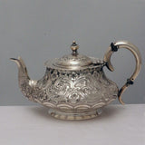 Victorian Silver Batchelors Tea Service with Lobed and Acanthus Decoration