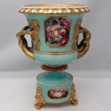 Pair of Bloor Derby Urns, Painted with Flowers on a Pale Blue Ground