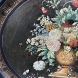 Victorian Papier Mâché Oval Tray, Painted with Flowers