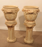 Pair of Weller Ivory Planters on Stand