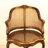 Louis XV Style Walnut and Caned French Provincial Bergere