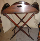 Victorian Mahogany Square to Round Butler's Tray on Stand