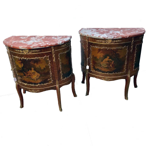 Pair of Louis XVI Style Demi-Lune Commodes