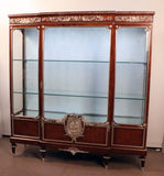 French Louis XVI Breakfront Vitrine in Violet Wood and Parquetry