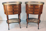 Pair of Louis XV Style Inlaid Side Cabinets with Breche Violette Marble Tops