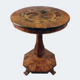 Biedermeier Walnut Round Table with Specimen Top