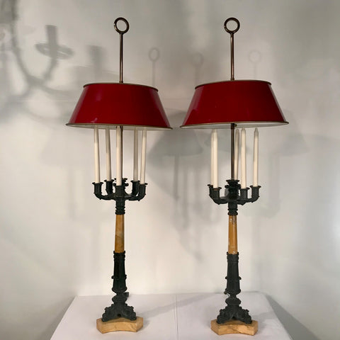 Pair of Antique Second Empire Style Five-Arm Candelabra