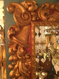 Baroque Style Polychrome and Gilt Carved Wood Mirror