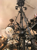 Large Gothic Style Bronze Eight-Light Two-Tier Gasolier