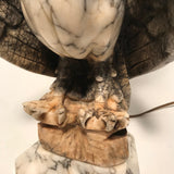 Italian Alabaster Lamp Modelled as an Eagle on a Rocky Crag