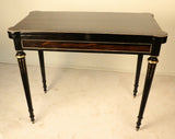 Louis XVI Style Coromandel and Ebonized Fold-Over Card Table
