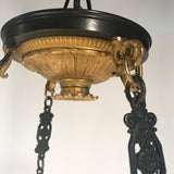 Antique Empire Style Twelve-Light Gilt Bronze Chandelier