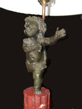 Pair of Bronze Putti Lamps