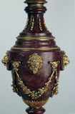 Pair of Rouge Marble and Gilt Bronze Lamps