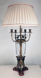 Pair of Renaissance revival Five-Arm Candelabras Mounted as Lamps
