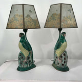 Pair of Chinese Export Porcelain Parrots, Mounted as Lamps