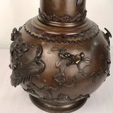 Pair of Antique Japanese Bronze Urns, Now Mounted as Lamps