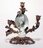 Pair of Antique Meissen Porcelain Woodpeckers, Now Mounted as Candelabrum