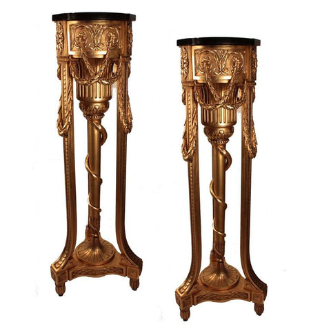 Pair of Louis XVI Style Giltwood Torchieres