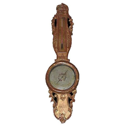 Louis XVI Style Giltwood Thermometer Barometer
