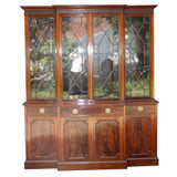 Georgian Style Mahogany Breakfront Bookcase Cabinet by Maple & Co.