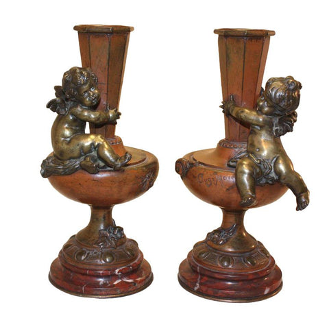 Pair of Bronze Vases by Auguste Moreau