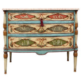 Neo-Classical Polychrome Three-Drawer Marble Top Commode