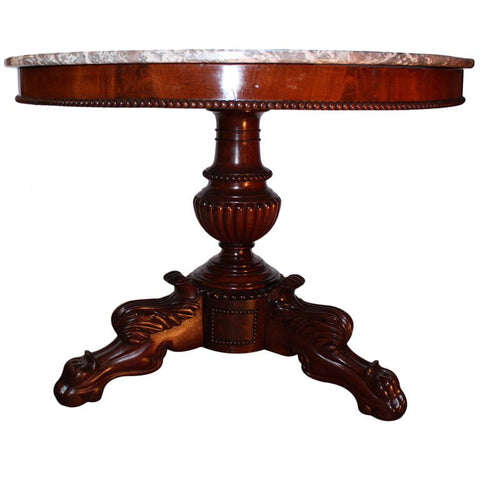 Louis Philippe Mahogany and Marble Centre Table