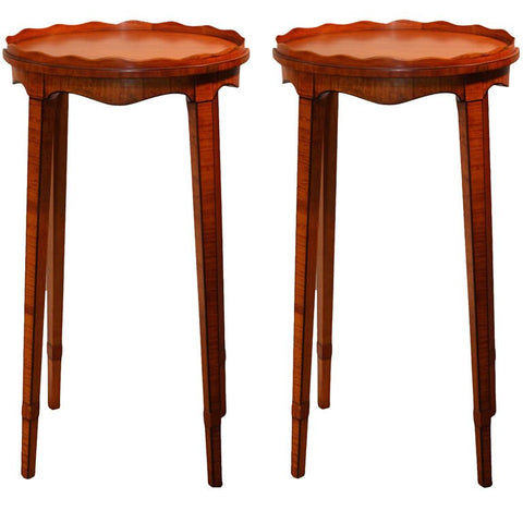 Pair of Hepplewhite Revival Satinwood Urn Stands