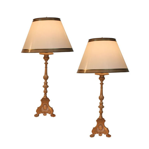 Pair of Quebec Pricket Candlesticks Adapted as Lamps
