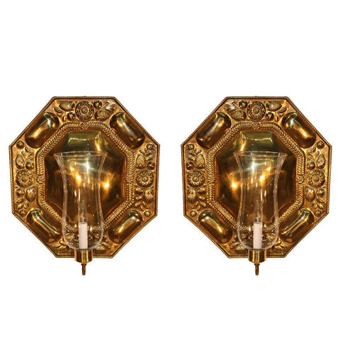 Pair of Octagonal Embossed Brass Reflectors