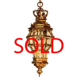 Louis XIV Style Gilt Bronze and Bevelled Glass Versailles Lantern