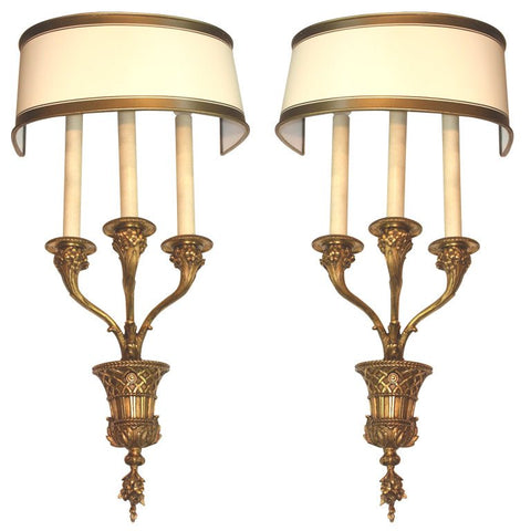 Pair of Louis XVI Style Bronze Basket Wall Sconces