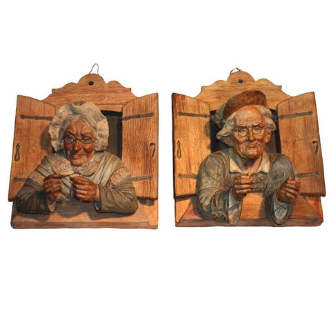 Pair of Wall Plaques Modelled as an Old Couple