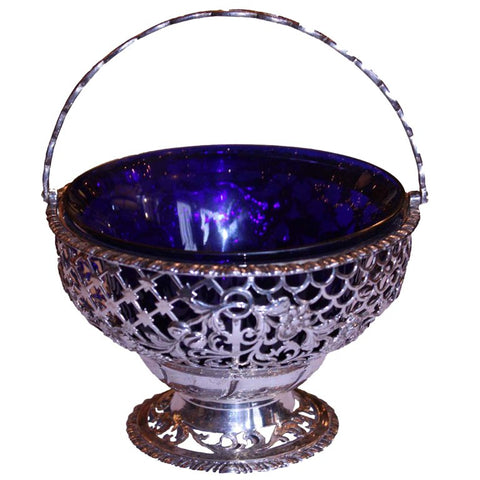 Irish Silver Openwork Basket and Liner