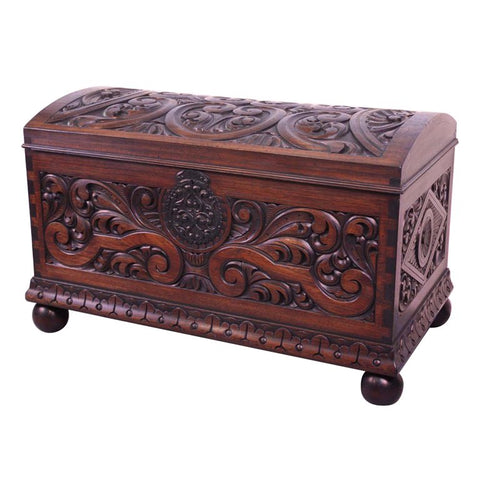 Carved Mahogany Dome Lid Chest