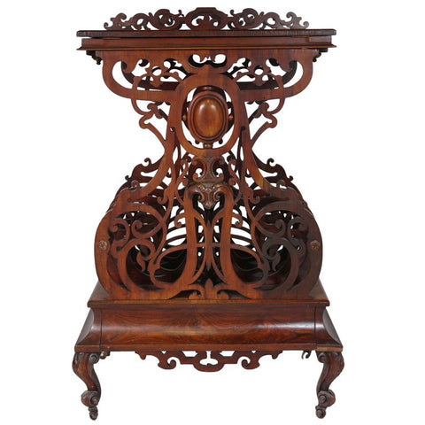 Victorian Rosewood Fretwork Canterbury