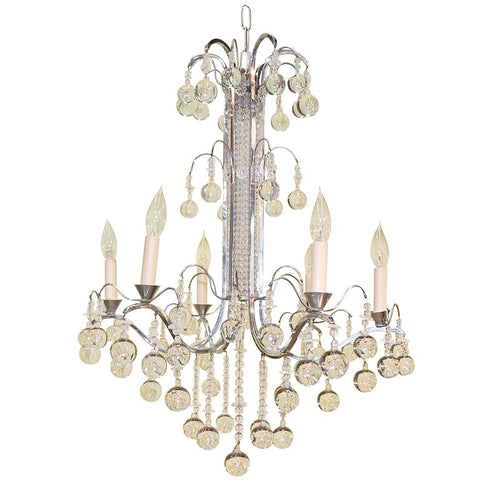Art Deco Crystal and Nickel Silver Chandelier