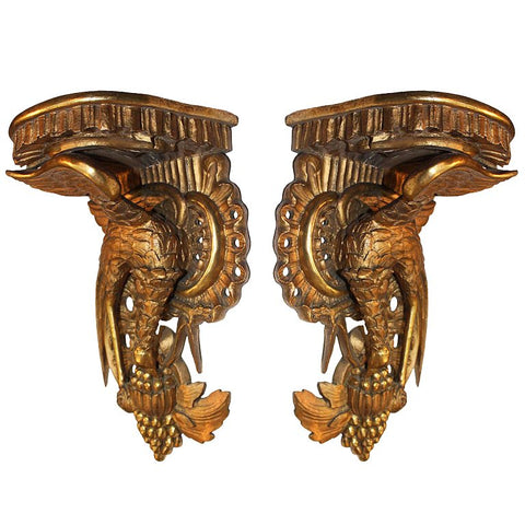 Pair of Antique French  Rococo Style giltwood Brackets Carved with Ho Ho Birds