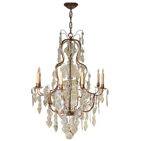 Louis XV Style Gilt Bronze and Crystal Chandelier