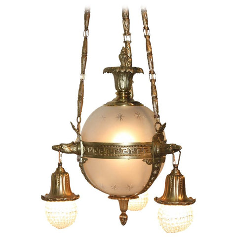 Gilt Bronze and Glass Astral Sphere Chandelier