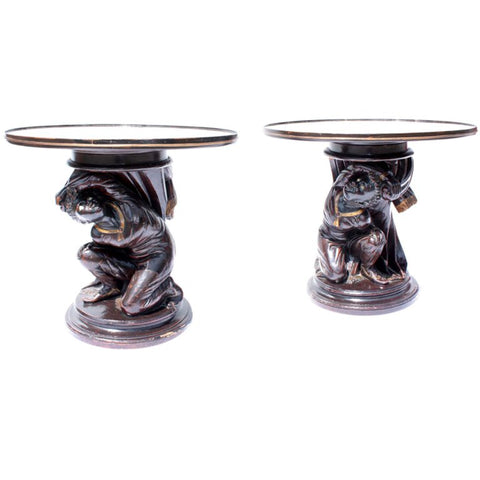 Pair of Venetian Carved and Painted Blackamoor Tables