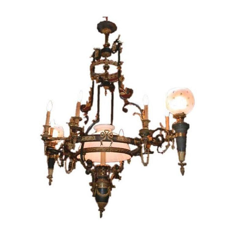 French Belle Epoque Empire style Gasolier and Oil Reservoir Chandelier