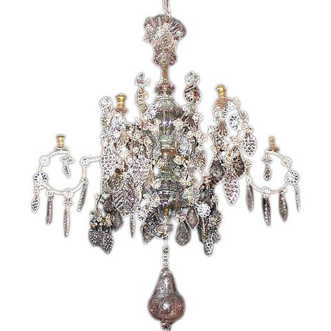 Baltic 18th Century Crystal and Gilded Iron Candle Chandelier