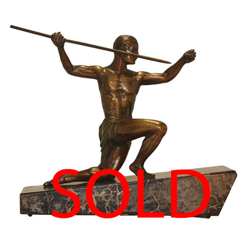 Art Deco Bronze of Javelin Thrower by Henri Molins