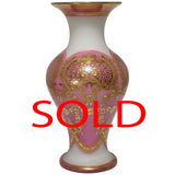 Baccarat White Opaline Glass Vase Pink Overlaid and Gilt