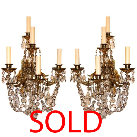 Pair of Victorian Crystal and Gilt Bronze Wall Sconces