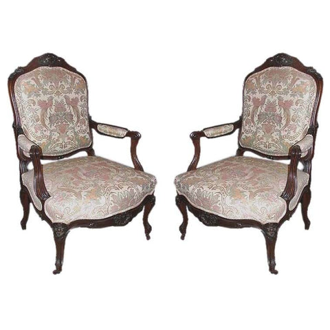 Pair of Victorian Walnut Open Armchairs