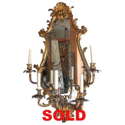 Louis XV Style Bronze Five-Light Girandole Mirror